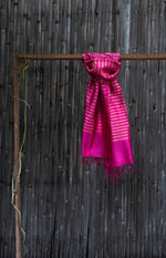 Load image into Gallery viewer, Bahaar Bougainvillea Magenta-Golden Striped Handwoven Silk Stole