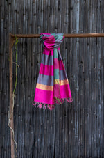 Load image into Gallery viewer, Silver Spring Magenta-Grey Striped Ombre Handwoven Silk Stole