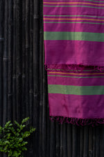 Load image into Gallery viewer, Bahaar Bougainvillea Green-Golden Striped Magenta Silk Dupatta