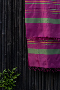 Bahaar Bougainvillea Green-Golden Striped Magenta Silk Dupatta
