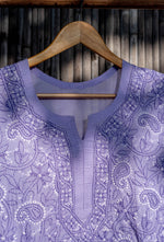 Load image into Gallery viewer, Roshan Purple Chikankari Kurti