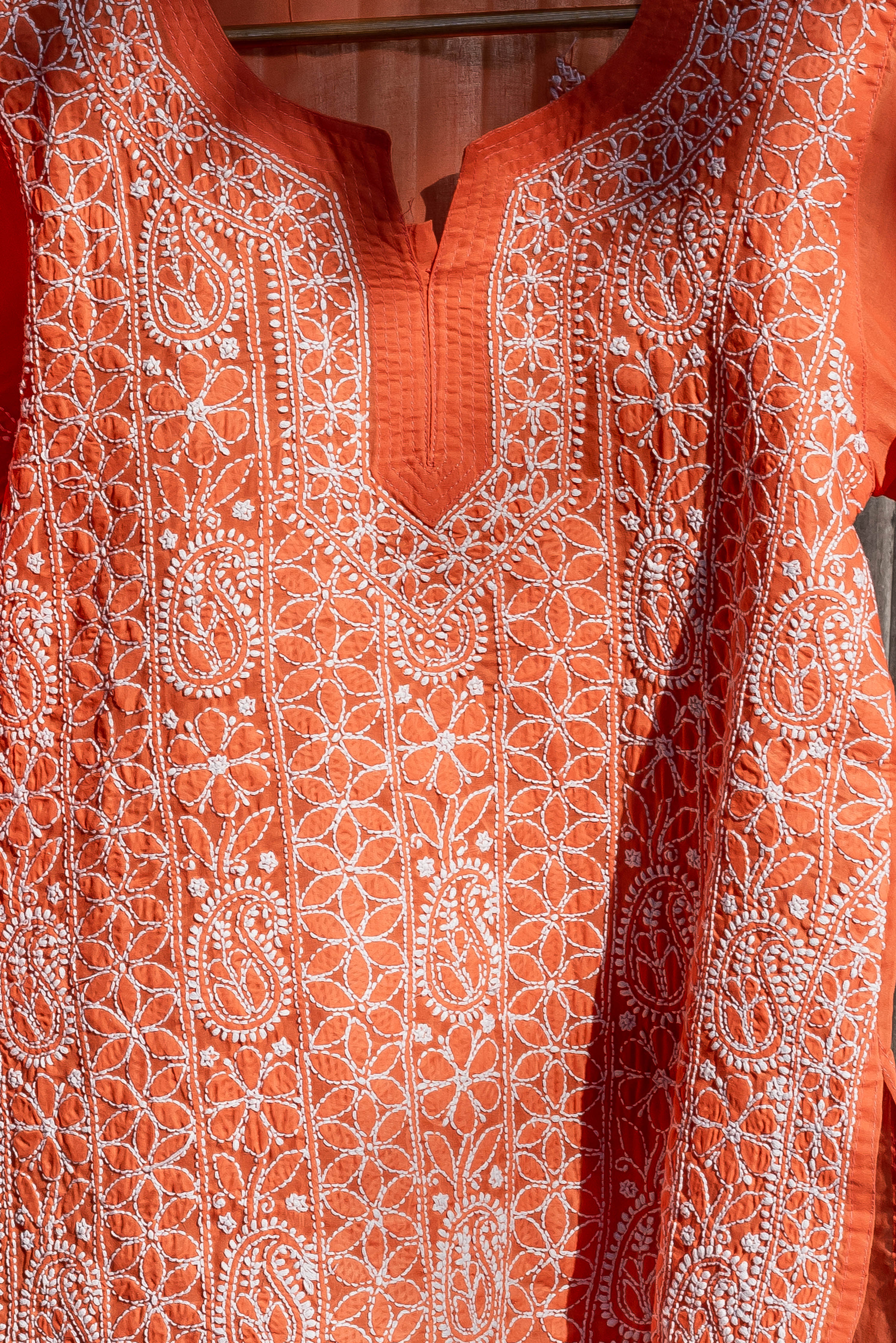 Roshan Orange Chikankari Kurta