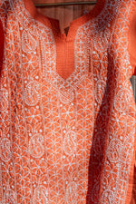 Load image into Gallery viewer, Roshan Orange Chikankari Kurta
