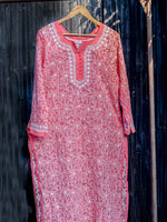 Load image into Gallery viewer, Coral Georgette Chikankari Kurta