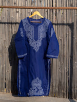 Load image into Gallery viewer, Falak Dark Blue Chikankari Kurta