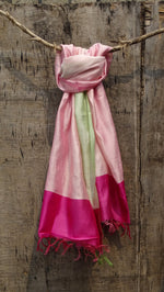 Load image into Gallery viewer, Bahaar Bougainvillea Powder White Ombre Handwoven Silk Stole