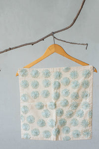 Powder Blue Lazy-Daisy Hand-Embroidered Cambric Cushion Cover