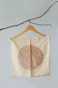 Ochre-Yellow Knot Motif Hand-Embroidered Cotton Cushion Cover