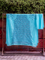 Load image into Gallery viewer, Doha Blue Unstitched Chikankari Suit Material