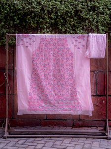Doha  Pink Unstitched Chikankari Suit Material