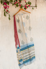 Load image into Gallery viewer, GulBano Phool-Daan Buta Block-Printed Chanderi Dupatta
