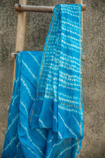Load image into Gallery viewer, Basant Blue and White Tie-Dye Leheriya Chanderi Saree