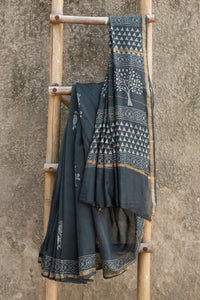 Basant Slate Grey and White Dabu Block Printed Chanderi Saree