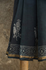 Load image into Gallery viewer, Basant Slate Grey and White Dabu Block Printed Chanderi Saree