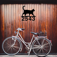 Load image into Gallery viewer, Walking Cat House Number Sign