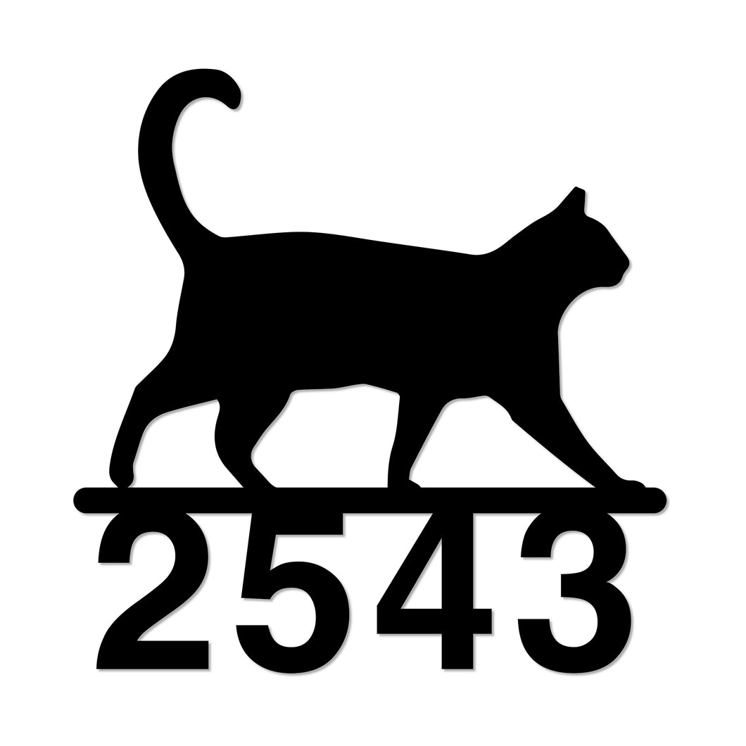 Walking Cat House Number Sign