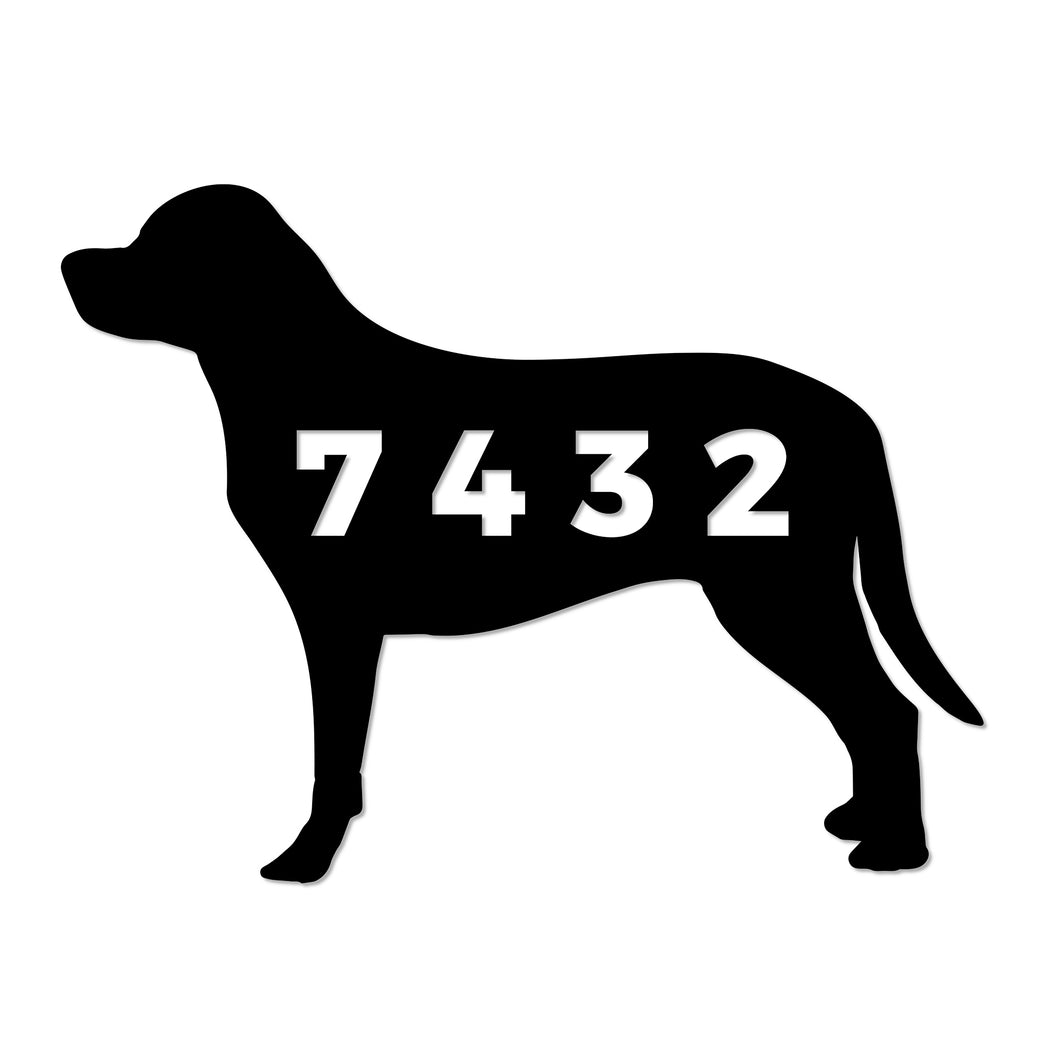 Dog with House Number Sign
