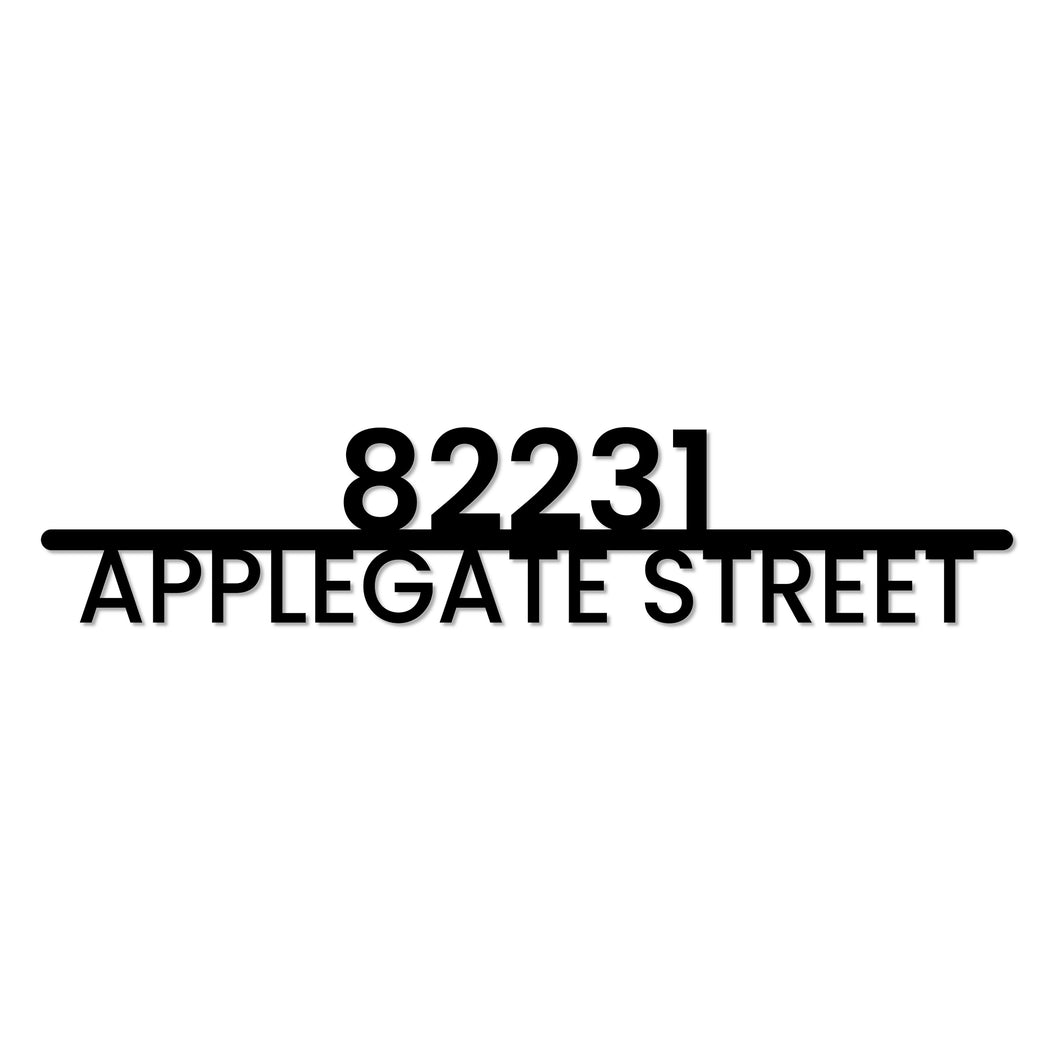 Centered Modern Metal House Address Marker