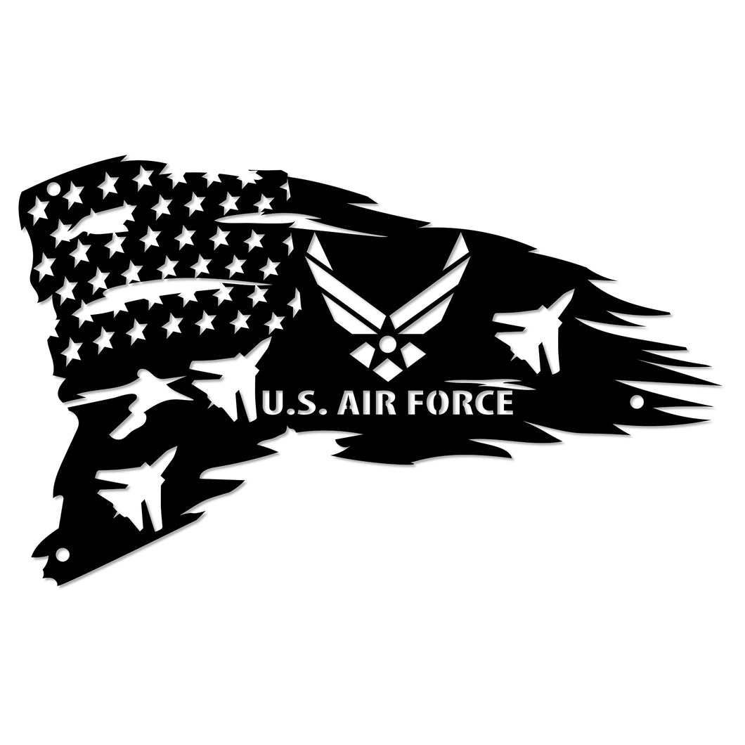 Distressed American Flag with Fighter Jets Wall Sign