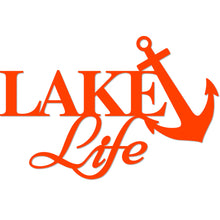 "Load image into Gallery viewer, ""Lake Life"" with Anchor Wall Sign"