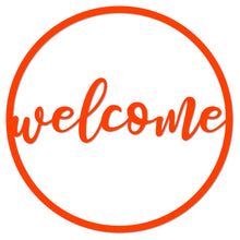 "Load image into Gallery viewer, ""Welcome"" Circle Design Metal Art Sign"