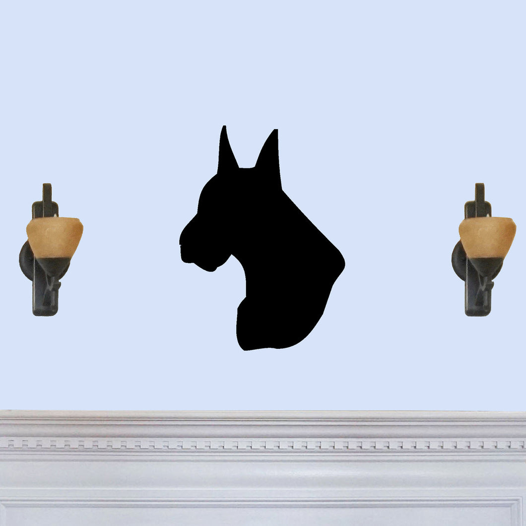 Great Dane Dog Head Silhouette Sign