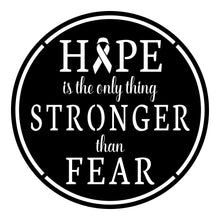 "Load image into Gallery viewer, ""Hope Stronger Than Fear"" Round Sign"