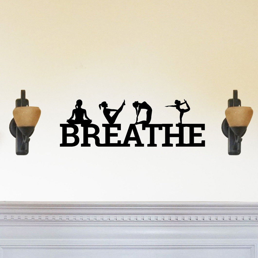Breathe With Yoga Poses Sign