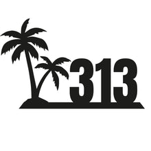Load image into Gallery viewer, Palm Tree Themed House Number Sign