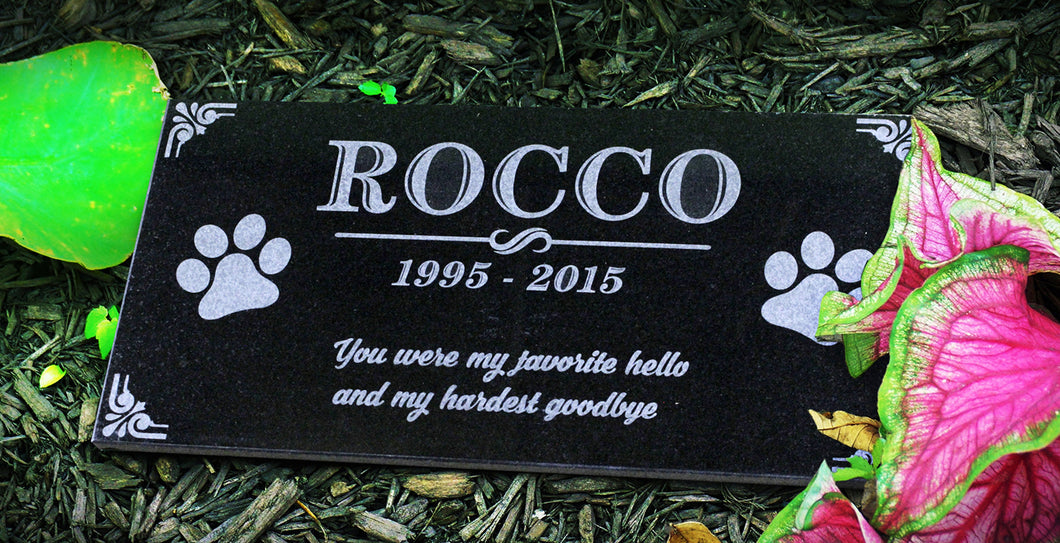 Paw Print Themed  Pet Marker Headstone