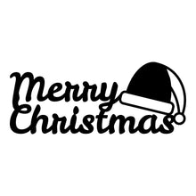 "Load image into Gallery viewer, ""Merry Christmas"" with Santa Hat Sign"