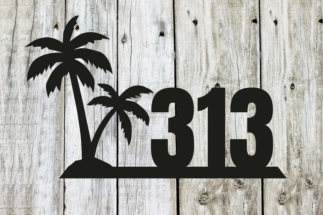 Palm Tree Themed House Number Sign