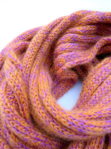Ribbed Mohair Scarf - Orange