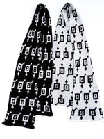 Load image into Gallery viewer, Dot knits Gender Equality scarf black and white