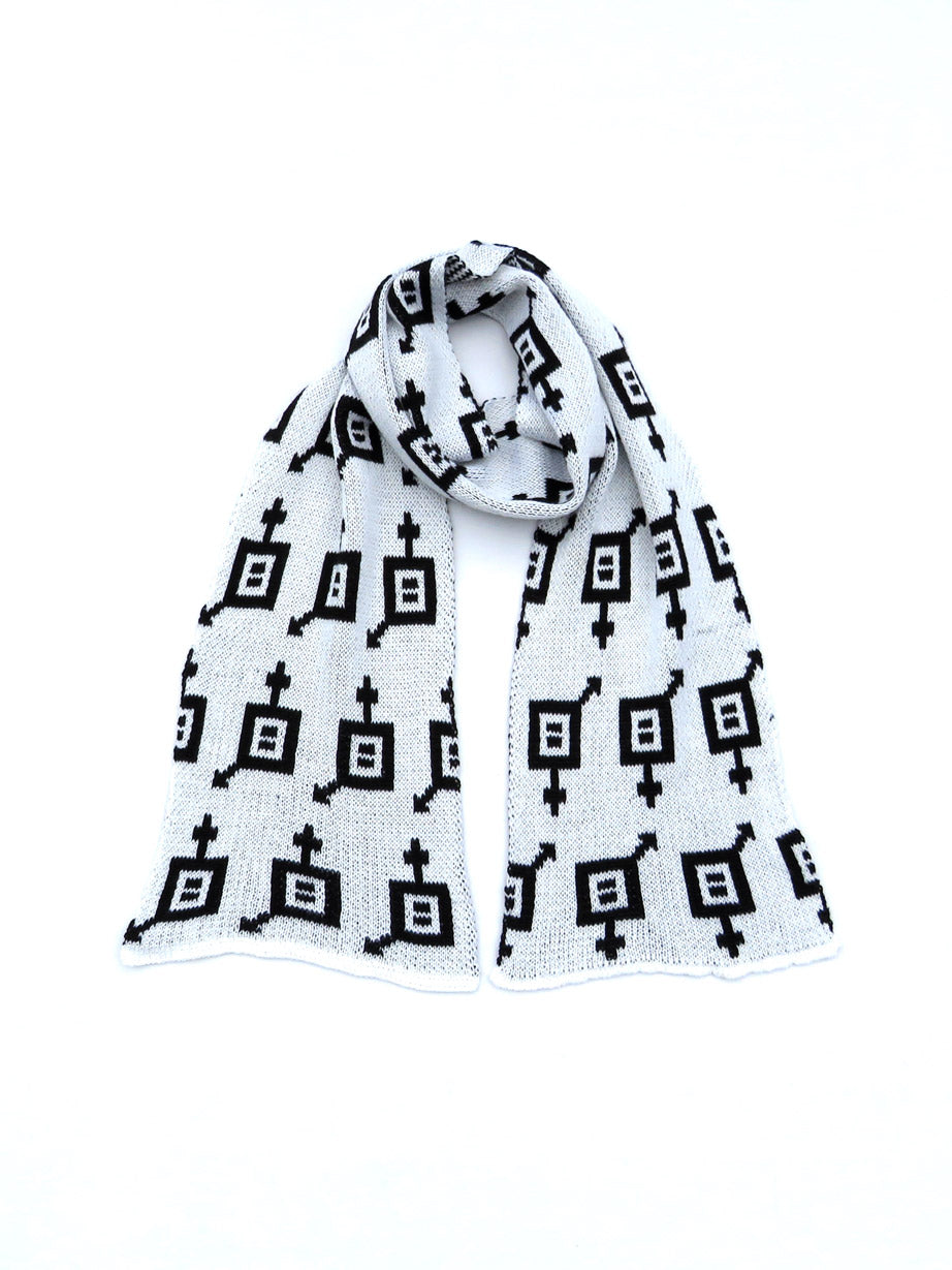 Dot knits Gender Equality scarf white