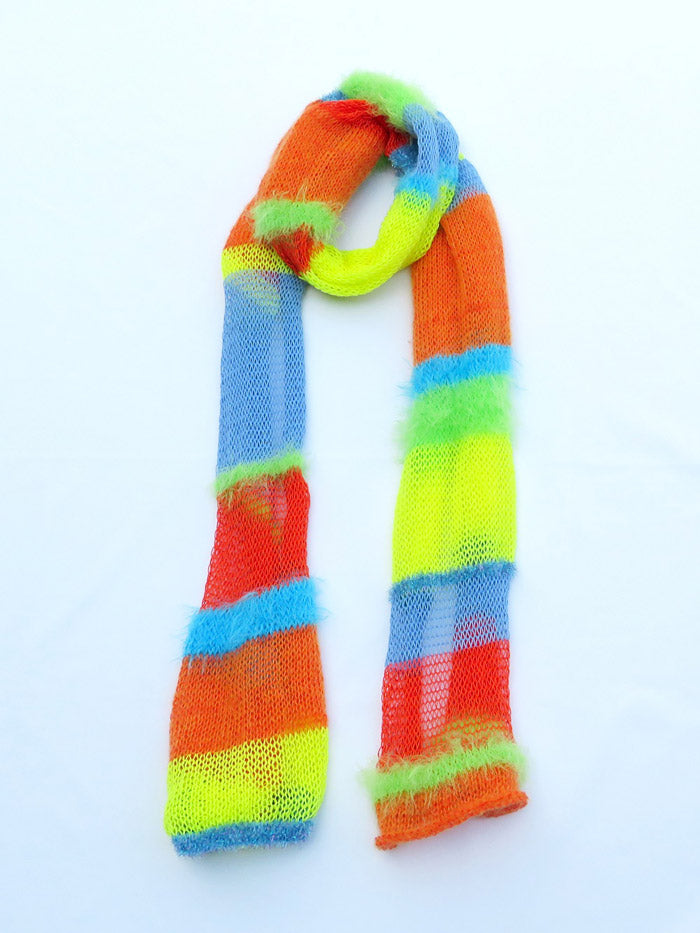 Dot knits lollipop stripe knit scarf