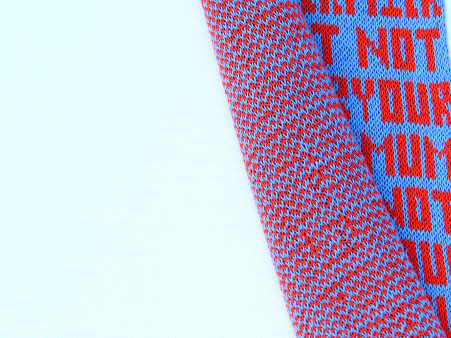 Dot knits not your mum not your milk, vegan scarf organic cotton front and back