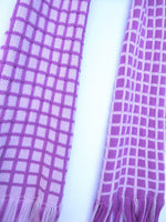Load image into Gallery viewer, Dot knits purple grid scarf