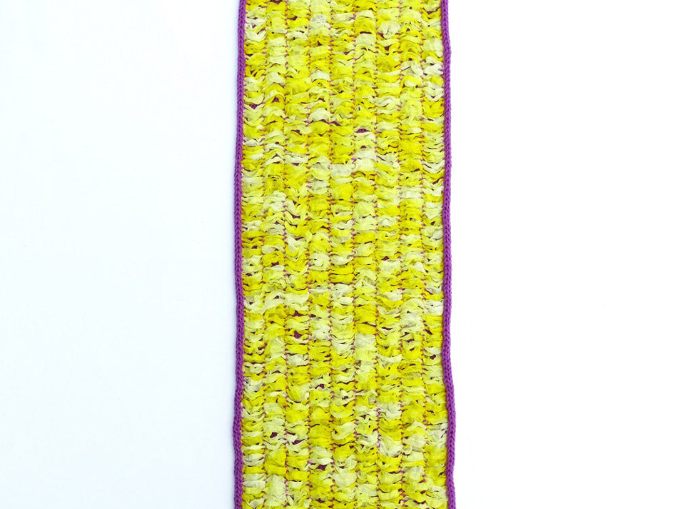 Dot knits reversible scarf in yellow  and purple, recycled paper yarn and merino