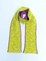 Load image into Gallery viewer, Dot knits reversible scarf in yellow  and purple, recycled paper yarn and merino