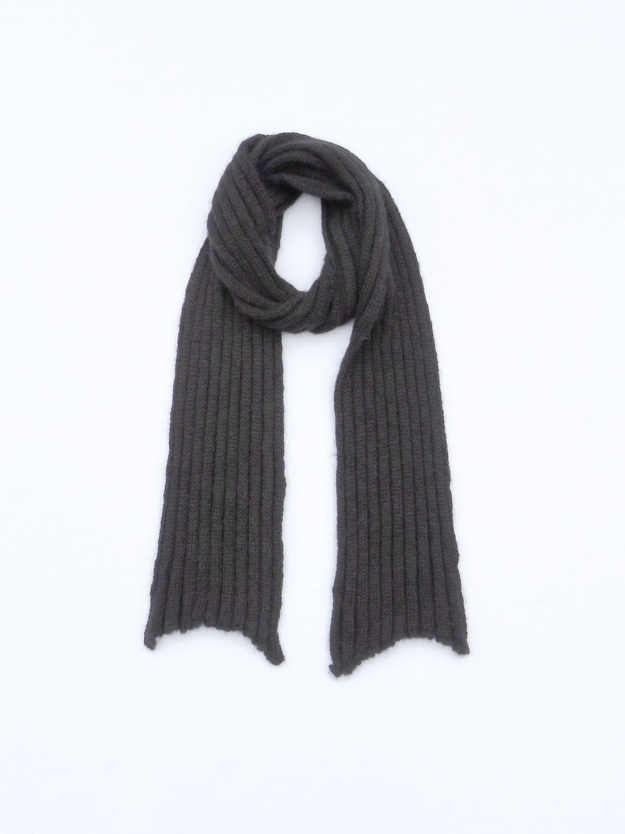 Dot knits ribbed mohair scarf black