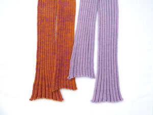 Dot knits ribbed mohair scarf lilac and orange