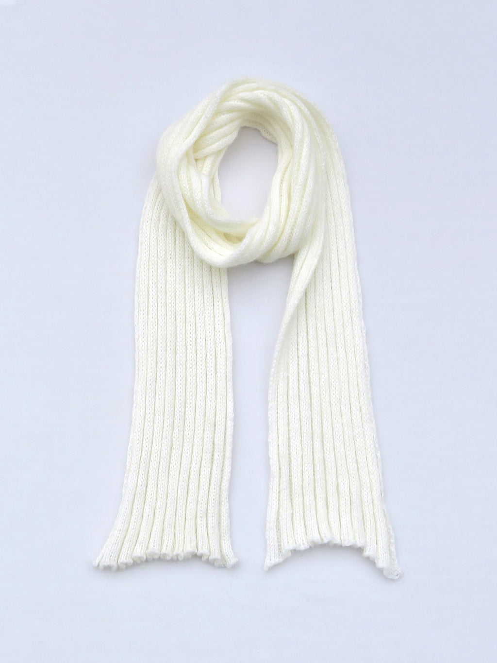 Dot knits ribbed mohair scarf white