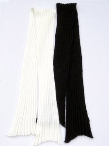 Dot knits ribbed mohair scarf black and white