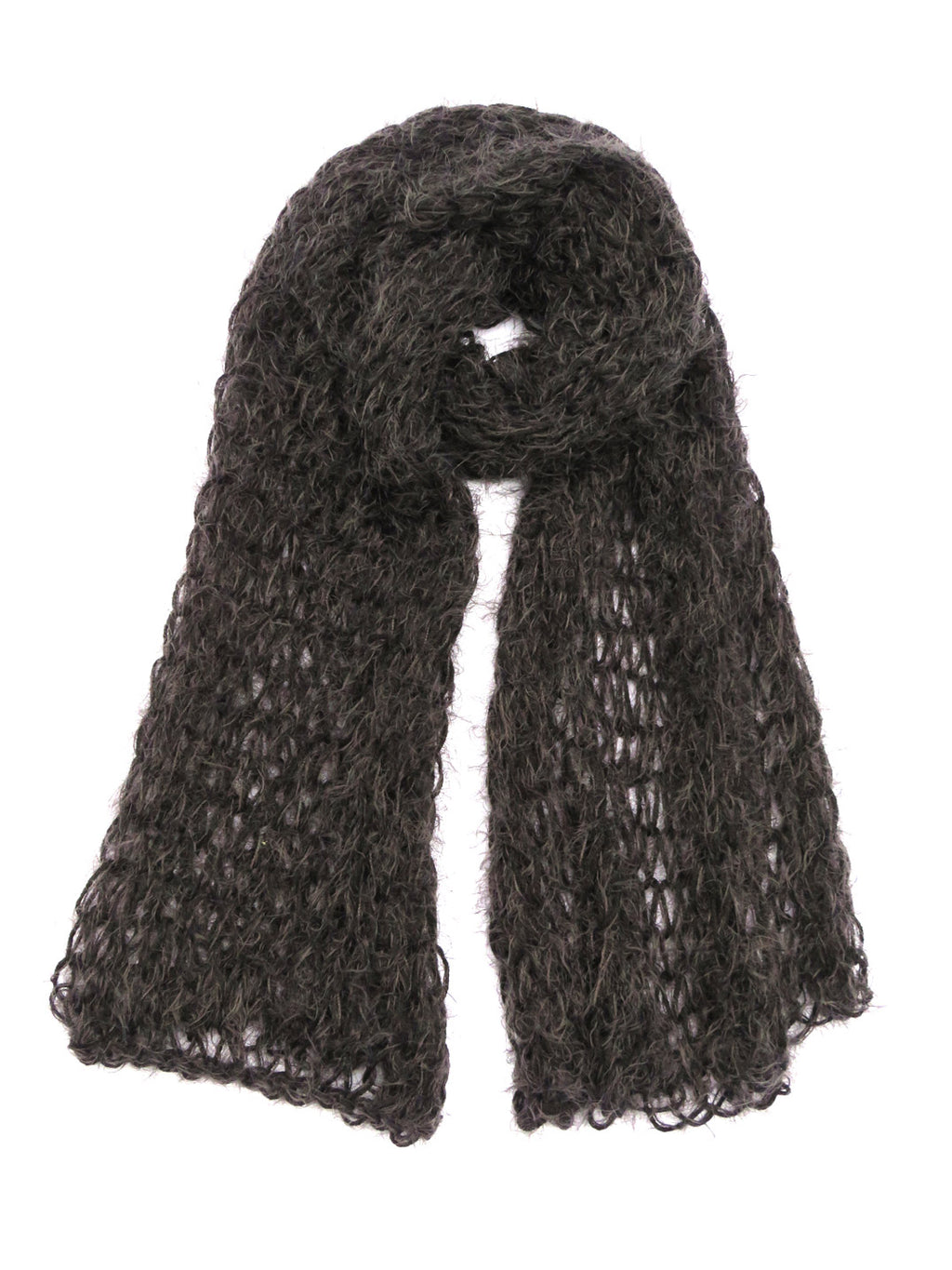 Dot knits super soft chunky charcoal scarf loose knit