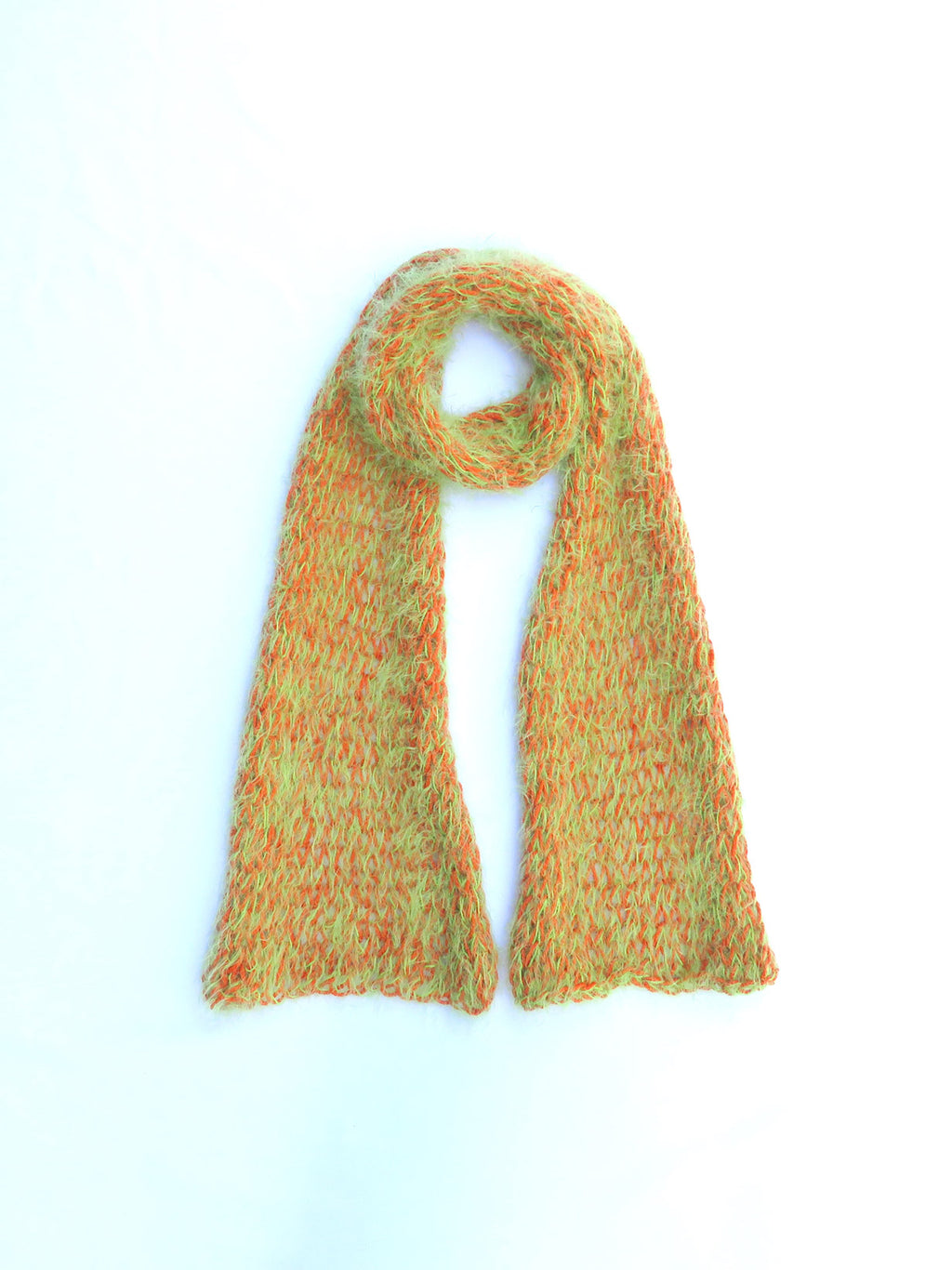 Dot knits super soft lime and orange scarf