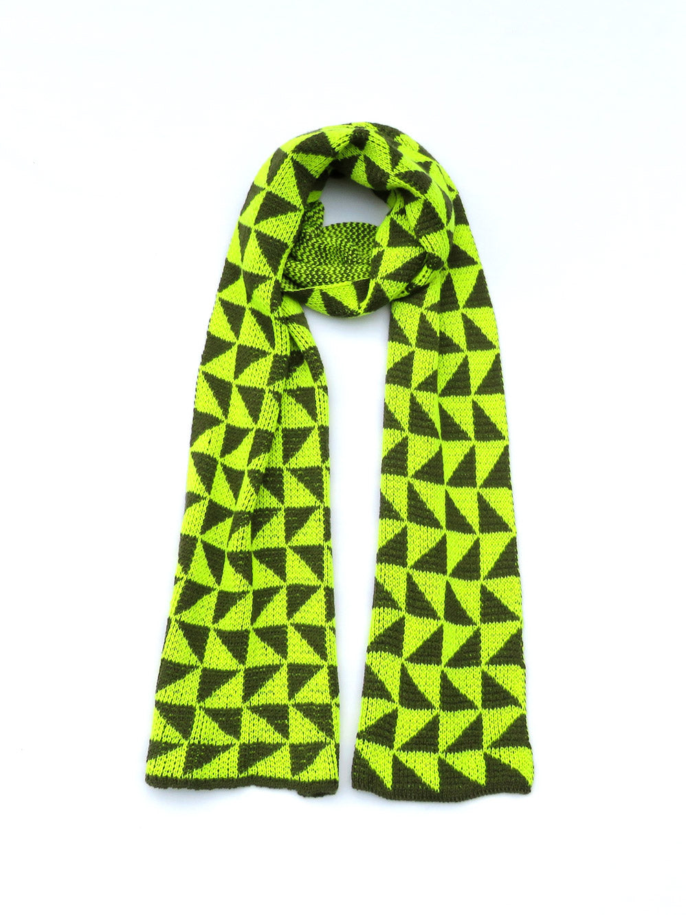 Dot knits triangle angle scarf yellow and khaki