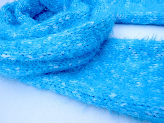Dot Knits Blue Ice Scarf Side View