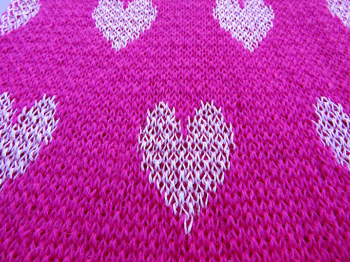Dot Knits I Heart My Scarf Hot Pink Close-up Knit