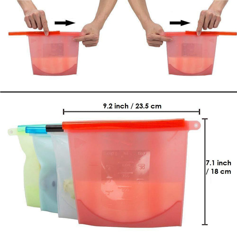 Zero-Waste Reusable Silicone Food Bags (4 pcs./set) - ECOINNOVA
